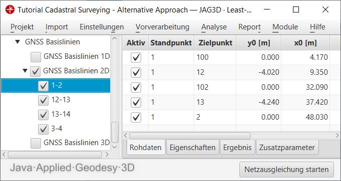 Parametrierung der Abszissen- und Ordinatenwerte einer Messungslinie als GNSS Basislinie