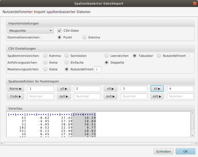 Import einer Datei mit Character-separated values