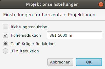 Projektionseinstellungen für ebene Abbildungen