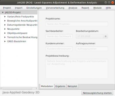 Graphische Benutzeroberfläche von JAG3D Ubuntu (Linux)